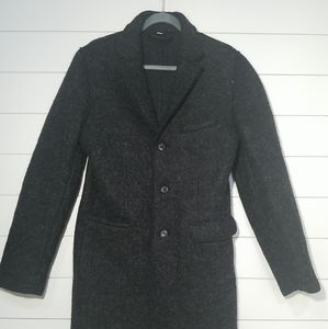 Gray Wool Three Button Peacoat